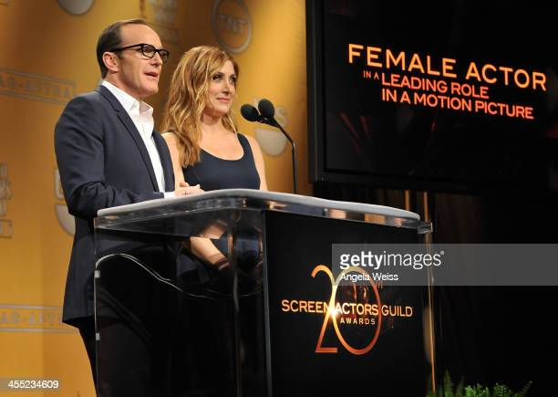 Actors Clark Gregg and Sasha Alexander speak at the 20th Annual Screen Actors Guild Awards Nominations Announcement at Pacific Design Center on...