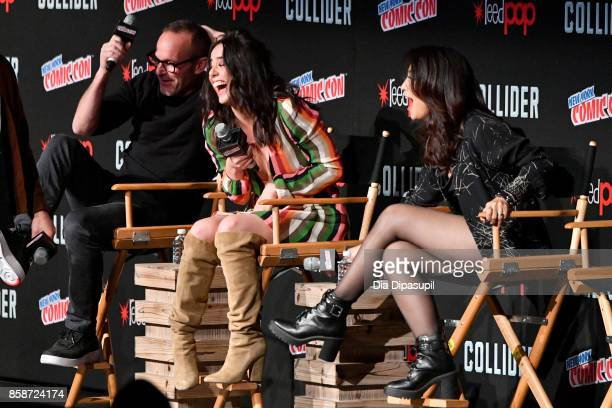 Actors Clark Gregg Chloe Bennet and MingNa Wen speak at the Marvel's Agents of SHIELD panel during 2017 New York Comic Con Day 3 on October 7 2017 in...