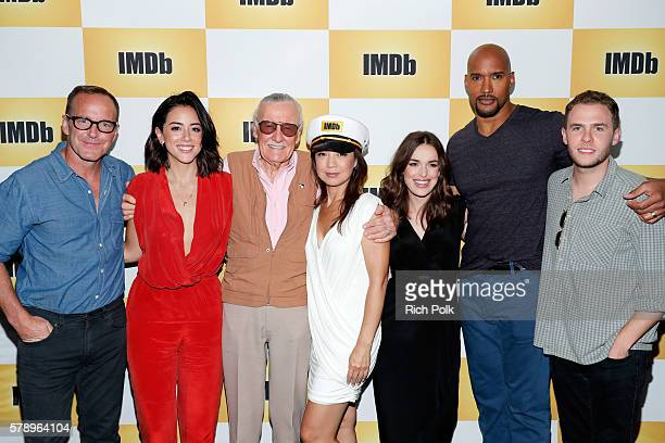 Actors Clark Gregg Chloe Bennet writer Stan Lee MingNa Wen Elizabeth Henstridge Henry Simmons and Iain De Caestecker of Agents of SHIELDattend the...
