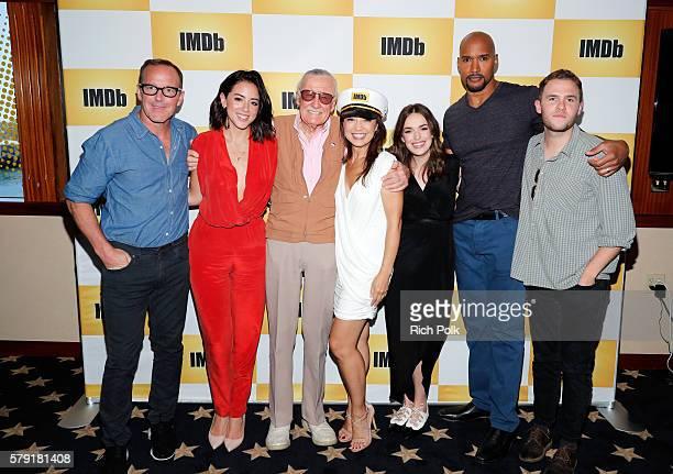 Actors Clark Gregg Chloe Bennet writer Stan Lee MingNa Wen Elizabeth Henstridge Henry Simmons and Iain De Caestecker of Agents of SHIELD attend the...