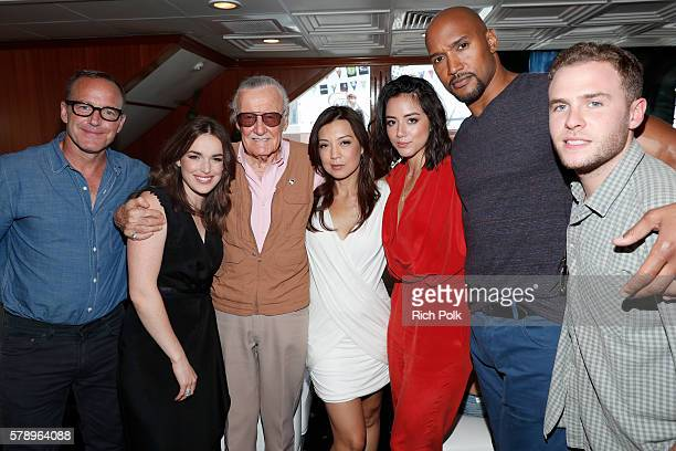 Actors Clark Gregg Elizabeth Henstridge writer Stan Lee MingNa Wen Chloe Bennet Henry Simmons and Iain De Caestecker of Agents of SHIELDattend the...