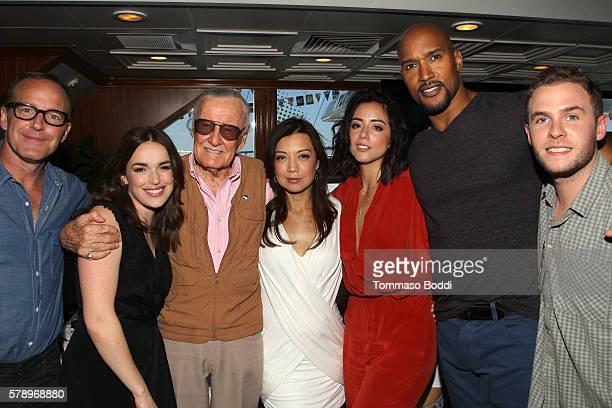 Actors Clark Gregg Elizabeth Henstridge writer Stan Lee MingNa Wen Chloe Bennet Henry Simmons and Iain De Caestecker of Agents of SHIELD attend the...