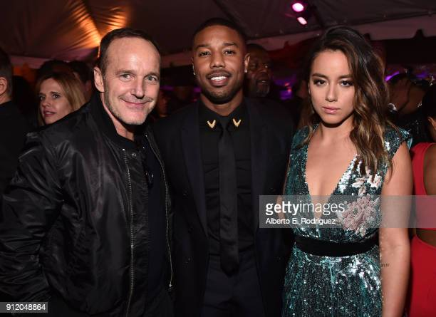 Actors Clark Gregg Michael B Jordan and Chloe Bennet at the Los Angeles World Premiere of Marvel Studios' BLACK PANTHER at Dolby Theatre on January...