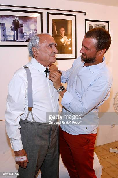 Actors Claude Brasseur and his son Alexandre Brasseur attend the 'La colere du Tigre' Theater play during the 31th Ramatuelle Festival : Day 6 on...