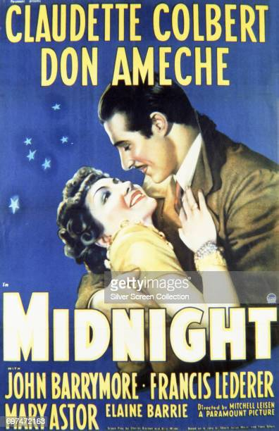 Actors Claudette Colbert as Eve Peabody and Don Ameche as Tibor Czerny on a poster for the Paramount Pictures film 'Midnight' 1939