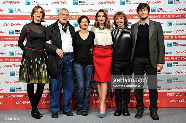 Actors Claudia Coli Raffaele Pisu director Marina Spada Claudia Gerini Enrico Bosco and Lino Guanciale attend the Il Mio Domani photocall during the...