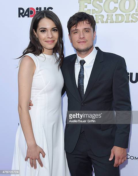 Actors Claudia Traisac and Josh Hutcherson arrive at the Los Angeles premiere of 'Escobar Paradise Lost' at ArcLight Hollywood on June 22 2015 in...