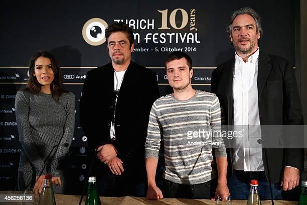 Actors Claudia Traisac Benicio del Toro Josh Hutcherson and director Andrea Di Stefano attend the 'Escobar Paradise Lost' Press Conference during Day...
