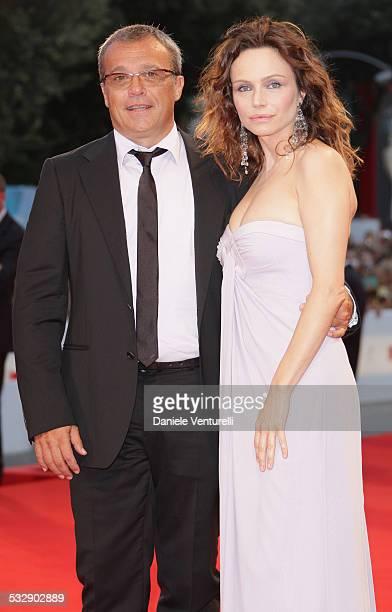 Actors Claudio Amendola and Francesca Neri attend the 'Il Papa Di Giovanna' film premiere at the Sala Grande during the 65th Venice Film Festival on...