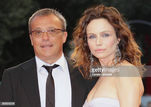 Actors Claudio Amendola and Francesca Neri attend the 'Il Papa Di Giovanna' film premiere at the Sala Grande during the 65th Venice Film Festival on...