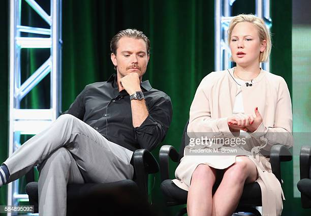 Actors Clayne Crawford and Adelaide Clemens speak onstage during the 'SundanceTV/Rectify' panel discussion at the AMC Networks portion of the 2016...