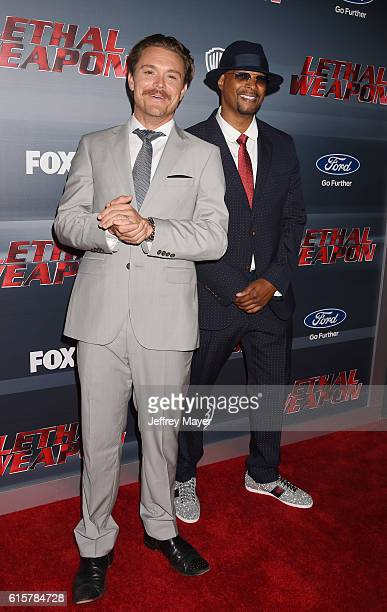 Actors Clayne Crawford and Damon Wayans attend the premiere of Fox Network's 'Lethal Weapon' at NeueHouse Hollywood on September 12 2016 in Los...