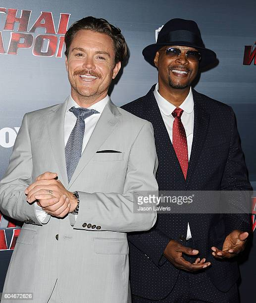 Actors Clayne Crawford and Damon Wayans attend the premiere of Lethal Weapon at NeueHouse Hollywood on September 12 2016 in Los Angeles California