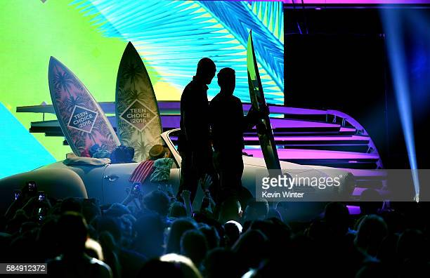 Actors Clayne Crawford and Damon Wayans speak onstage during Teen Choice Awards 2016 at The Forum on July 31 2016 in Inglewood California