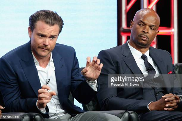 Actors Clayne Crawford and Damon Wayons speak onstage at the 'Lethal Weapon' panel discussion during the FOX portion of the 2016 Television Critics...