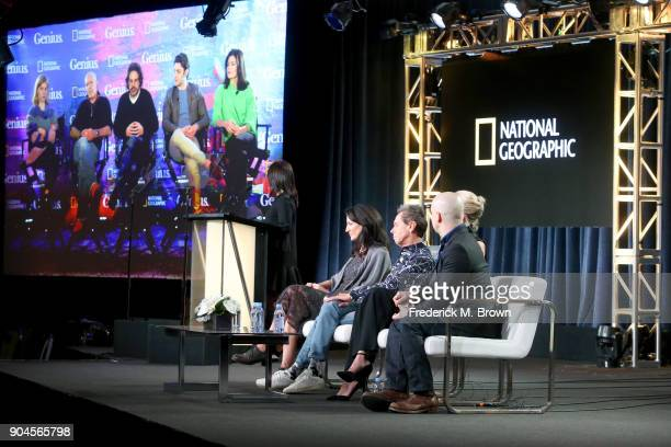 Actors Clemence Poesy and Antonio Banderas showrunner/writer/EP Ken Biller and actors Alex Rich and Samantha Colley via satellite and CEO National...
