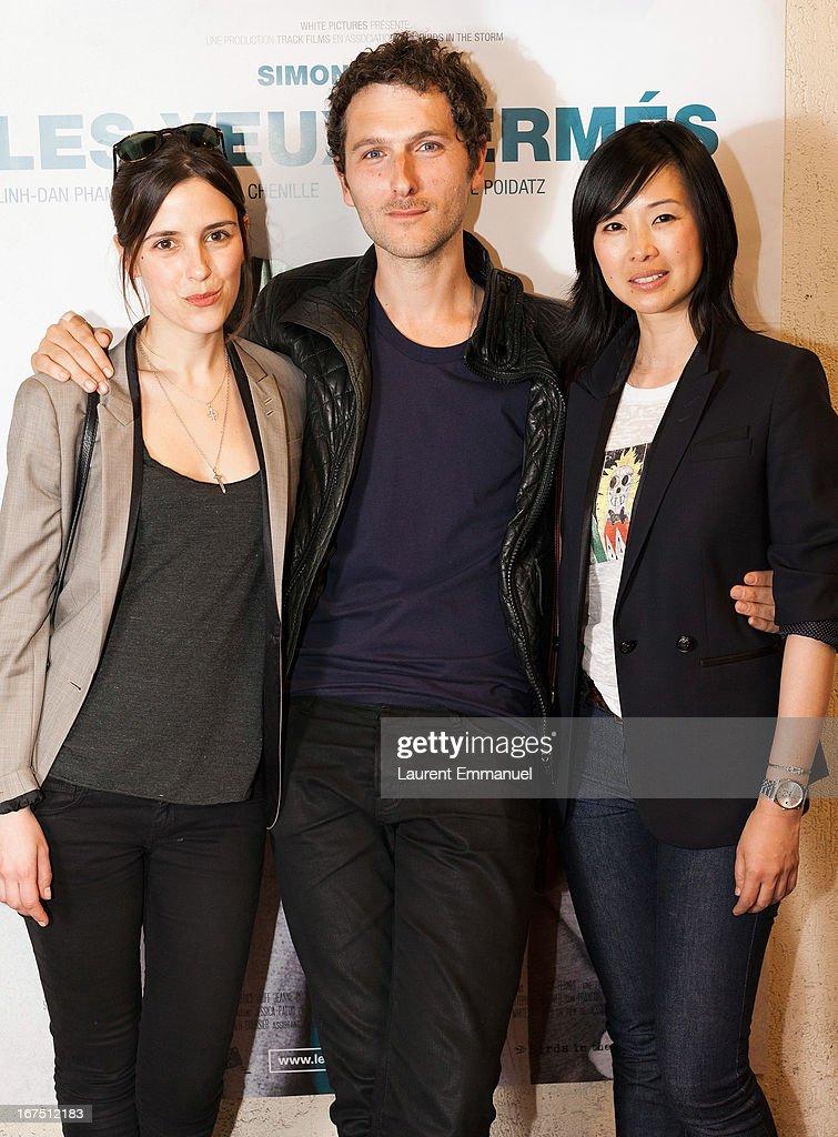 Actors Clementine Poidatz, Simon Buret and Linh-dan Pham attend 'Les Yeux Fermes' Paris premiere at Cinema Le Saint Andre Des Arts on April 25, 2013 in Paris, France.