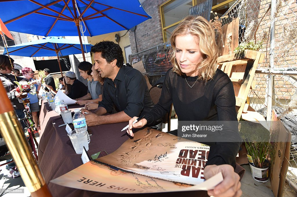 Actors Cliff Curtis (L) and Kim Dickens attend AMC's 'Fear The Walking Dead' during Comic-Con International 2015 at the Hilton Bayfront on July 11, 2015 in San Diego, California.