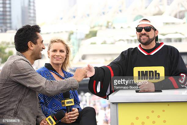 Actors Cliff Curtis and Kim Dickens of Fear the Walking Dead and host Kevin Smith attend the IMDb Yacht at San Diego ComicCon 2016 Day Three at The...