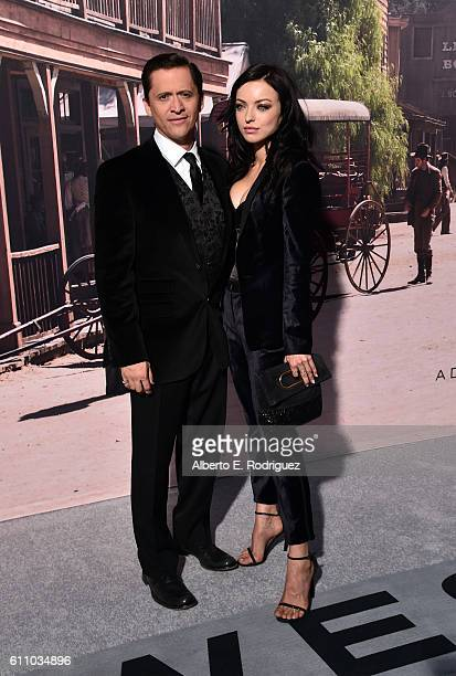 Actors Clifton Collins Jr and Francesca Eastwood attend the premiere of HBO's Westworld at TCL Chinese Theatre on September 28 2016 in Hollywood...