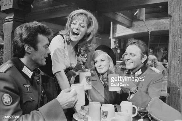 Actors Clint Eastwood as 'Lt Morris Schaffer' Mary Ure as 'Mary Ellison' Ingrid Pitt as 'Heidi Schmidt' Richard Burton as 'Maj John Smith' on the set...
