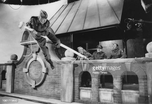 Actors Clive Dunn John Le Mesurier Arthur Lowe and James Beck in a scene from episode 'Battle of the Giants' of the television sitcom 'Dad's Army'...