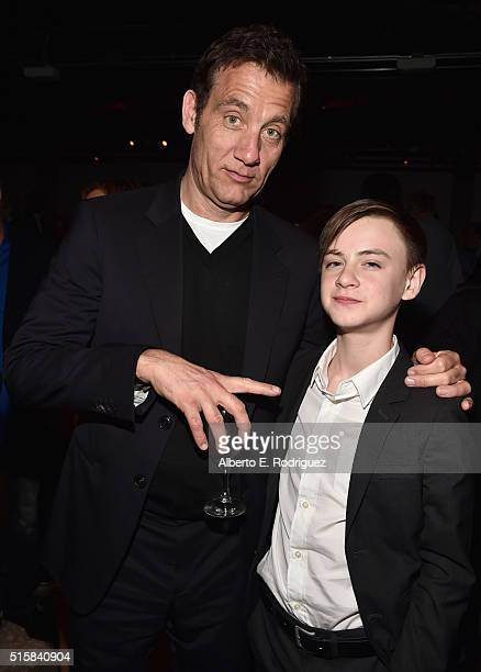 Actors Clive Owen and Jaeden Lieberher attend the after party for the premiere of Saban Films' 'The Confirmation' at NeueHouse Hollywood on March 15...