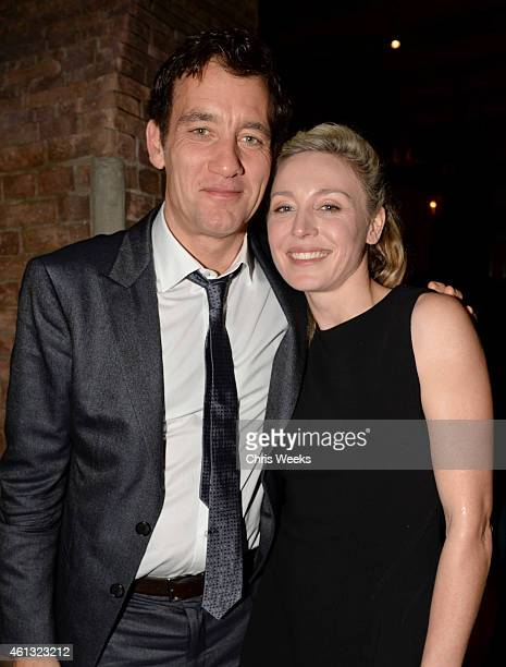 Actors Clive Owen and Juliet Rylance attend Anonymous Content PreGolden Globes Party Hosted By GREY GOOSE Vodka at RivaBella on January 10 2015 in...