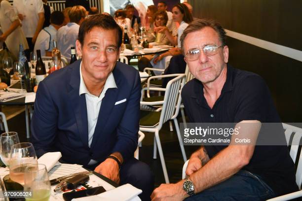 Actors Clive Owen and Tim Roth attend the Men Final of the 2018 French Open Day Fithteen at Roland Garros on June 10 2018 in Paris France