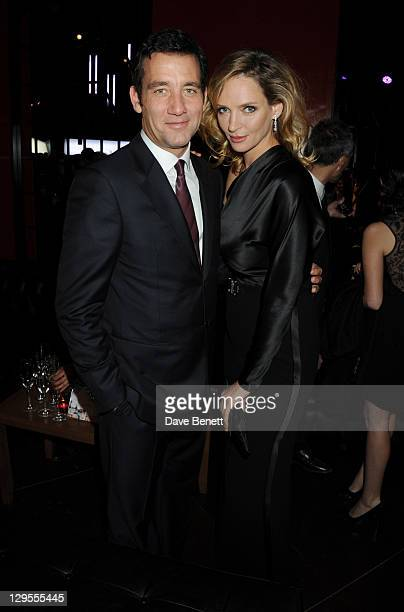 Actors Clive Owen and Uma Thurman attend the Vertu Global Launch Of The 'Constellation' at Palazzo Serbelloni on October 18, 2011 in Milan, Italy.