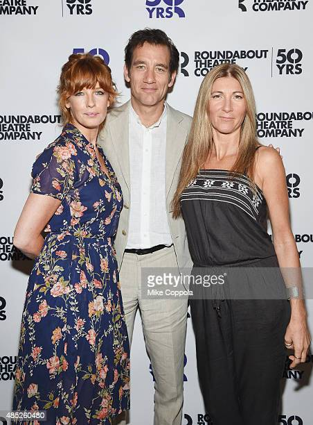 Actors Clive Owen Kelly Reilly and Eve Best attend the 'Old Times' Broadway Cast Photocall on August 26 2015 in New York City