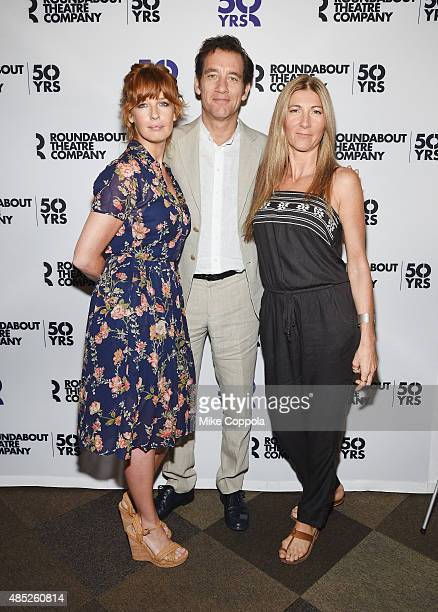 "Actors Clive Owen, Kelly Reilly, and Eve Best attend the ""Old Times"" Broadway Cast Photocall on August 26, 2015 in New York City."