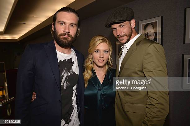 Actors Clive Standen Katheryn Winnick and Gustaf Skarsgard attend a reception for a screening and QA for The History Channel's 'Vikings' at Leonard H...
