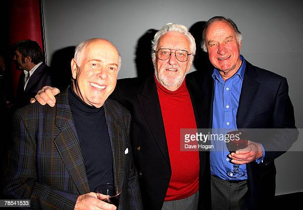 Actors Clive Swift Bernard Cribbins and Geoffrey Palmer attend the gala screening of the 'Dr Who' Christmas episode at the Science Museum on December...
