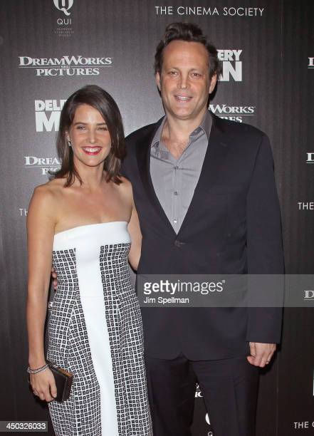 Actors Cobie Smulders and Vince Vaughn attend the DreamWorks Pictures and The Cinema Society screening of Delivery Man at Paley Center For Media on...