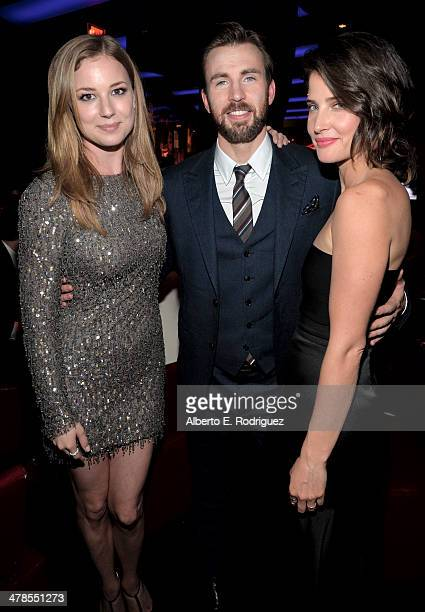 Actors Cobie Smulders Chris Evans and Emily VanCamp attend the after party for Marvel's 'Captain America The Winter Soldier' premiere at the El...