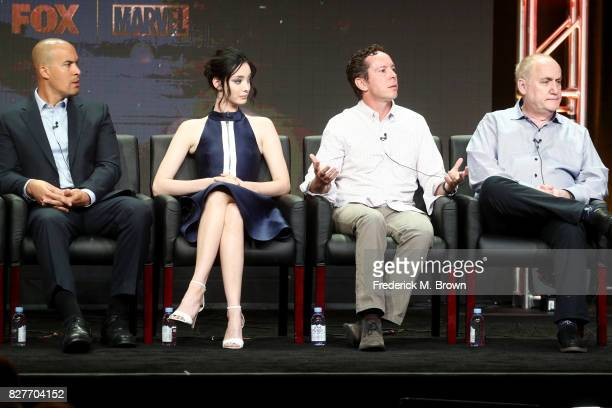 Actors Coby Bell and Emma Dumont and Executive Producers Matt Nix and Jeph Loeb of 'The Gifted' speak onstage during the FOX portion of the 2017...