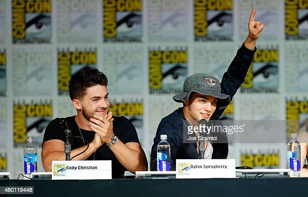 Actors Cody Christian and Dylan Sprayberry speak onstage at MTV's 'Teen Wolf' panel during ComicCon International 2015 at the San Diego Convention...