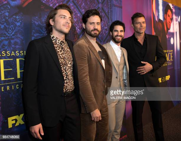 Actors Cody Fern Edgar Ramírez Darren Criss and Ricky Martin attend The Assassination of Gianni Versace American Crime Story season finale episode at...