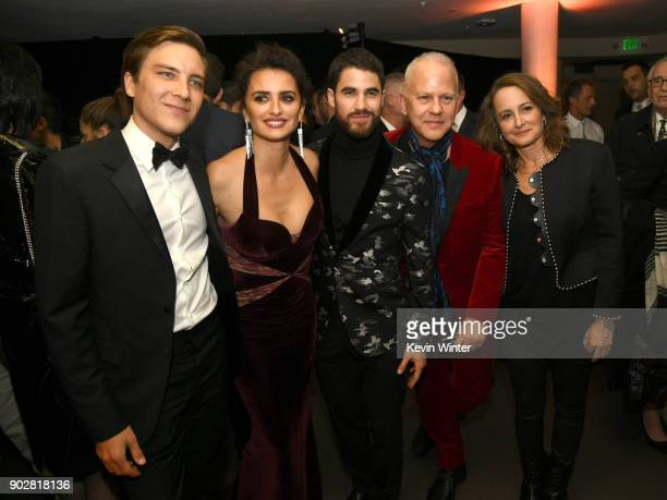 Actors Cody Fern Penelope Cruz Darren Criss executive producers Ryan Murphy and Nina Jacobson pose at the after party for the premiere of FX's 'The...