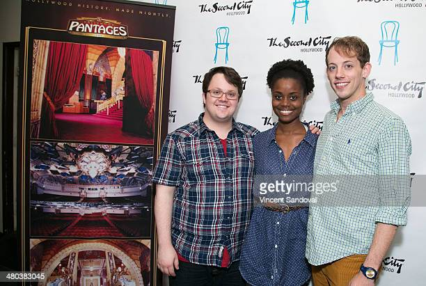 Actors Cody Jamison Strand Denee Benton and Pierce Cassedy attend the cast of 'The Book Of Mormon' participate in Talkback at The Second City...