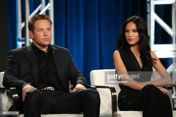 Actors Cole Hauser and Kelsey Asbille of 'Yellowstone' speak onstage during the Paramount Network portion of the 2018 Winter TCA on January 15 2018...