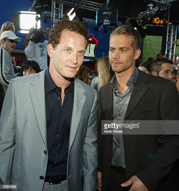 Actors Cole Hauser and Paul Walker arrive at the premiere of 2 Fast 2 Furious at the Universal Amphitheatre on June 3 2003 in Los Angeles California