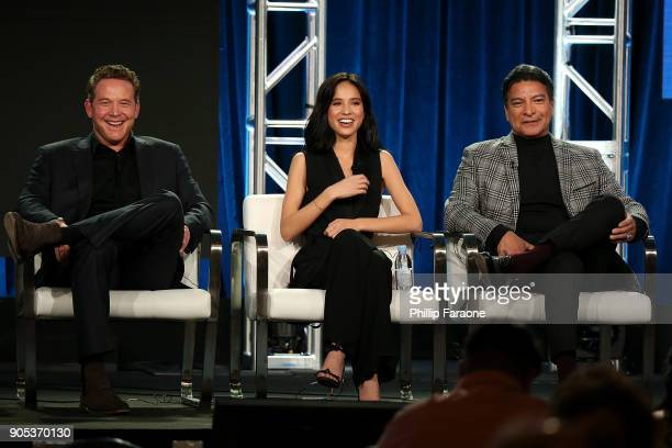 Actors Cole Hauser Kelsey Asbille and Gil Birmingham of 'Yellowstone' speak onstage during the Paramount Network portion of the 2018 Winter TCA on...