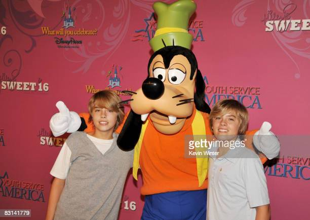 Actors Cole Sprouse and Dylan Sprouse arrive at Miley Cyrus' 'Sweet 16' birthday celebration benefiting Youth Service America at Disneyland on...