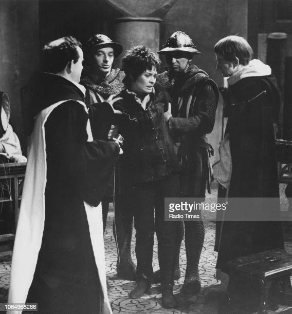 Actors Colin Blakely Janet Suzman and Ronald Pickup in a scene from the BBC Play of the Week 'St Joan' April 11th 1968