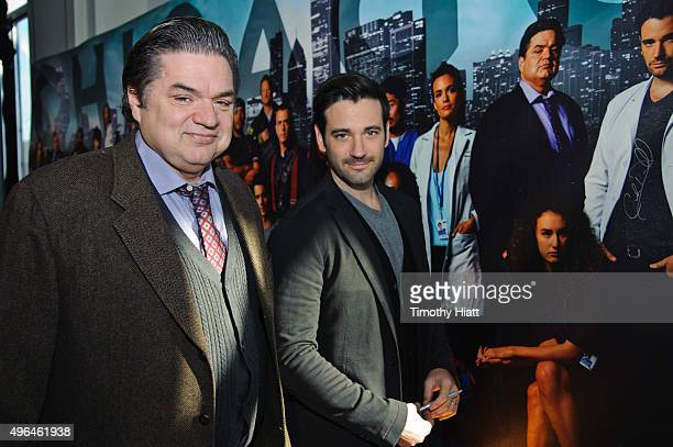 Actors Colin Donnell and Oliver Platt attend a press junket for NBC's 'Chicago Fire' 'Chicago PD' and 'Chicago Med' at Cinespace Chicago Film Studios...