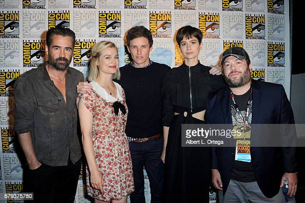 Actors Colin Farrell Alison Sudol Eddie Redmayne Katherine Waterston and Dan Fogler attend the Warner Bros Presentation during ComicCon International...