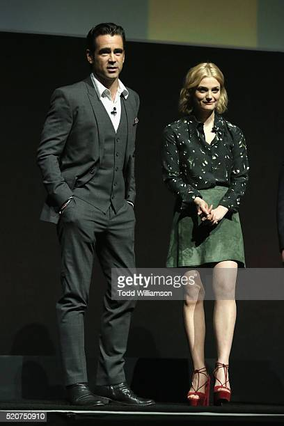 "Actors Colin Farrell and Alison Sudol speak onstage during CinemaCon 2016 Warner Bros Pictures Invites You to ""The Big Picture"" an Exclusive..."