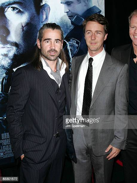 Actors Colin Farrell and Edward Norton attend the Premiere for Pride and Glory at AMC Loews lincoln Square 13 on October 15 2008 in New York City